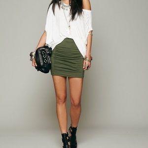 Free People Scrunch Mini Skirt in Olive Green Sz S
